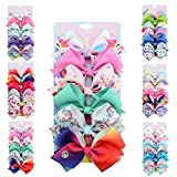 [6-Pack] 5 Inch Cute Mermaid Unicorn Rainbow Colorful Hair Bows Clip Accessories Gifts for Toddlers Girls (Unicorn Series)