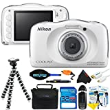 Nikon COOLPIX S33 13.2MP Waterproof Shockproof Digital Camera (White) + Pixi-Basic Accessory Bundle (International Version)