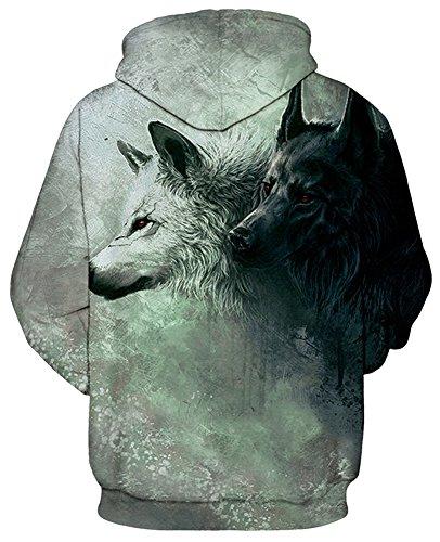 Casual Pull Sweats shirts Longues Homme Tdolah Sweat 10 Loups Hoodie Capuche À Fantaisie Deux Hiver Manches Pochette EqXwX5Cn