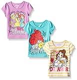 Disney Little Girls' 3 Pack Princess T-Shirts, Yellow, 6