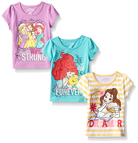 Disney Shirts For Girls (Disney Little Girls' 3 Pack Princess T-Shirts, Yellow, 6)