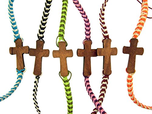 Cross Wooden Bracelet - Religious Jewelry Wooden Sideways Cross on Colorful Braided Cord Bracelet, Pack of 12, 8 Inch