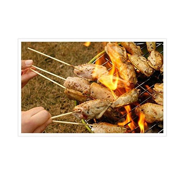 HJCWL 90 Pezzi Forniture per Barbecue Tappetini perBarbecue Attrezzi per Barbecue BBQ monouso Spiedini di bambù Griglia Bastoncini di Legno Shish Barbecue, 3mmx30cm 3 spesavip