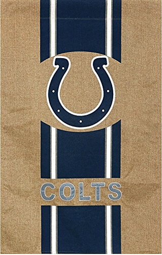 Team Sports America NFL Indianapolis Colts Stripe Logo Burlap House Flag, Medium, Multicolored ()