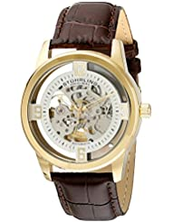 Stuhrling Original Mens 877.04 Winchester Automatic Gold-Plated Watch with Croco-Embossed Band