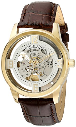 Stuhrling Original Men s 877.04 Winchester Automatic Gold-Plated Watch with Croco-Embossed Band
