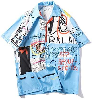 DXHNIIS Camisas de Graffiti Hombres Playa de Verano Camisas para Hombres Manga Corta Nuevas Camisas Retro Hombre Ropa de Calle XXL Azul: Amazon.es: Deportes y aire libre