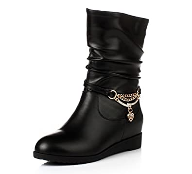 Women's Round-Toe Closed-Toe Low-Heels Boots with Platform