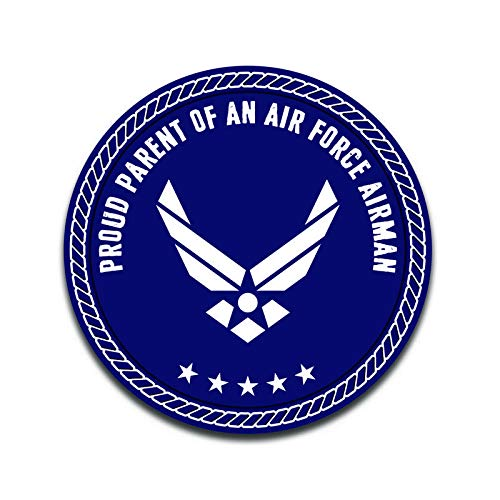 (More Shiz Proud Parent of an Air Force Airman Decal Sticker Car Truck Van Bumper Window Laptop Cup Wall - Two 5 Inch Decals - MKS0315)