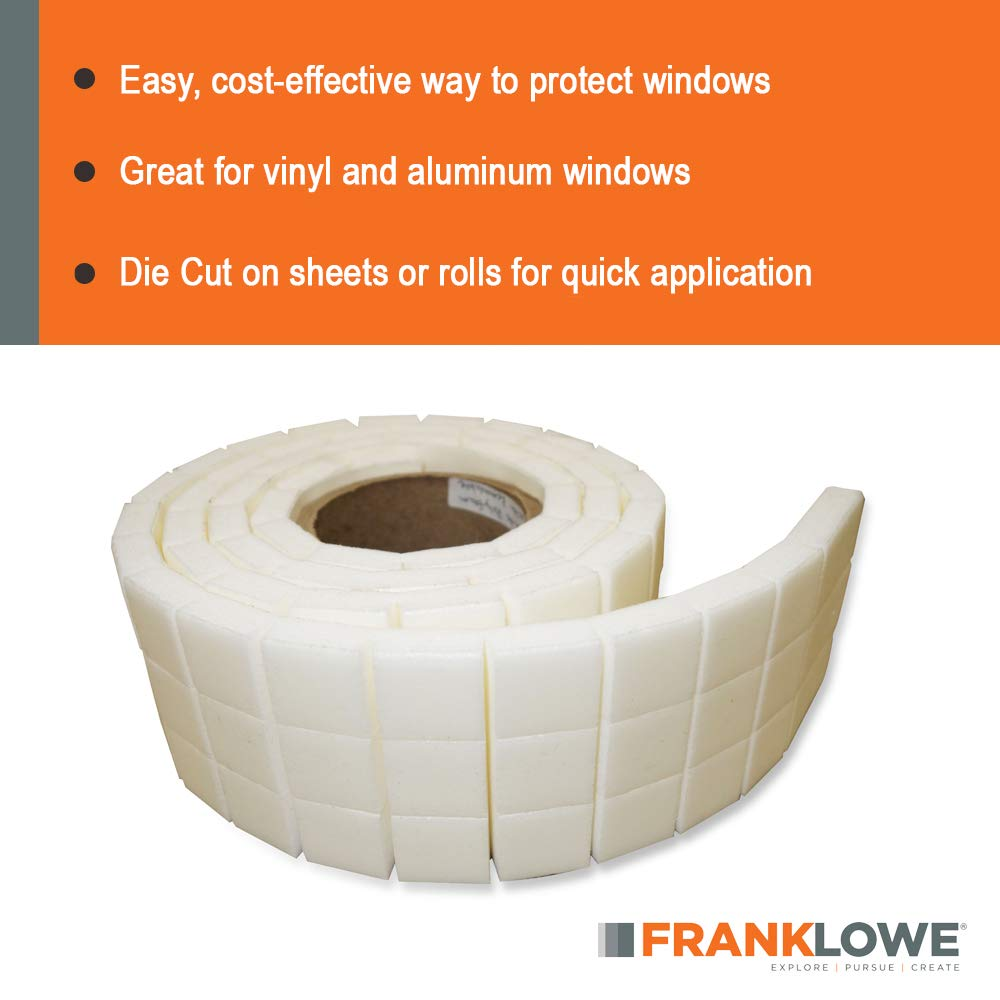 Franklowe Poly Foam Adhesive Backed Separator Pads for Vinyl and Aluminum Windows 1000 Pack 1//2 x 1-1//2 x 1-1//2