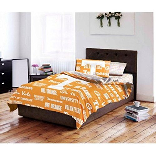 5 Piece NCAA Tennessee Volunteers Comforter Full Set, Sports Patterned Bedding, Featuring Team Logo, Fan Merchandise, Team Spirit, College Football Themed, White Yellow by OS (Image #1)