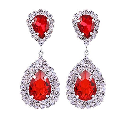 mecresh Red Teardrop Dangle Earrings Austrian Crystal Bridal Drop Chandelier Earrings for Women ()