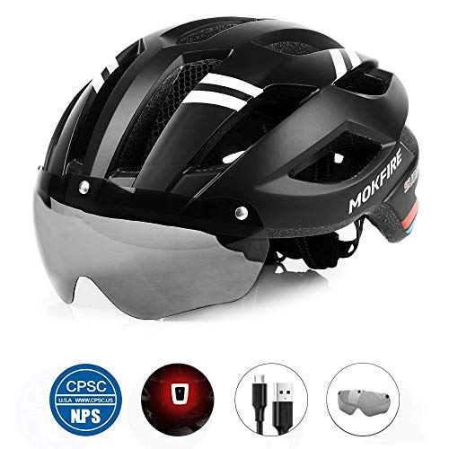 MOKFIRE Adult Bike Helmet with Magnetic Goggles and Rechargeable USB