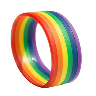 Amosfun Pulsera LGBT Rainbow Pride Pulseras de Silicona Pulsera Orgullo Gay y Lésbica Pulseras de Goma Deporte Moda Pulsera única: Juguetes y juegos
