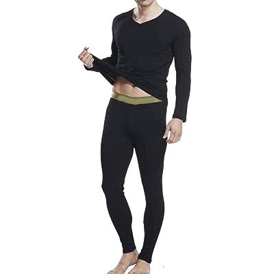 ARRIVE GUIDE Mens Winter Padded V Neck Long Sleeve Thermal Underwear Sets