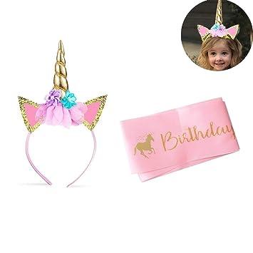 Unicornio Cumpleaños Accesorios,Diadema Unicornio y Correa de Hombro para Cumpleaños,Unicornio Decoraciones Cumpleaños Suministros,Set de Decoración ...