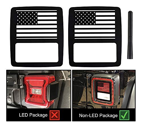 VroomTec Automotive Jeep Wrangler Aluminum Tail Light Rear Light Guard Covers and Stubby Antenna for 2018+ JL JLU Sport (New Body Style)  Fitment for Non-LED Sport Models Only