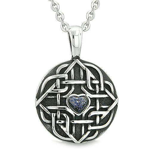 - Amulet Celtic Shield Knot Magic Heart and Protection Powers Blue Goldstone Pendant 18 Inch Necklace
