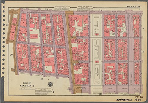 Historic 1955 Map | Plate 19, Part of Section 2: [Bounded by E. Houston Street, Orch | Antique Vintage Map Reproduction - Orch Parts