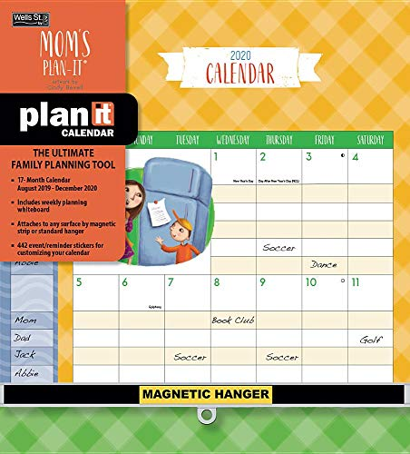 Mom's 2019-2020 Plan-it 17-Month Calendar: Includes Event/Reminder Stickers and Magnetic Hanger