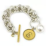 Collector's Sorority Gal Initial E Bracelet in Two-Tone with Pearl, 8-8.5''