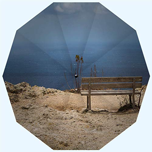 Fashion Travel Umbrella Sun Umbrella UV protection automatic opening and closing, Empty bench with a sea view Malta, windproof - rainproof - men - ladies - versatile - 42 inches