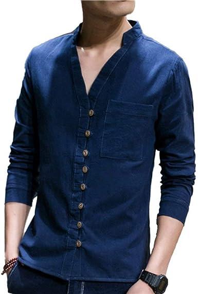 Camisa para Hombre Casual V Cuello V Manga Larga Ocio Ocasional Cuello Tops Primavera Otoño Moda Color Sólido Camisa Blusa Tops: Amazon.es: Ropa y accesorios