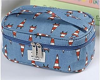 HOUHOUNNPO Sac de Rangement Pliable à la Mode Sac cosmétique Sac de Lavage pour Les Femmes (Bleu Marine) Pochette Cosmétique Femme