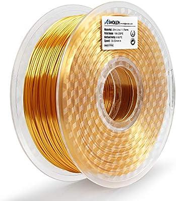 AMOLEN Impresora 3D Filamento PLA 1.75mm, Seda Oro 1KG,+/- 0.03mm ...