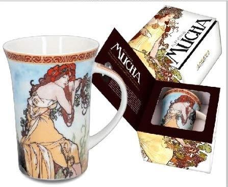 Alphonse Mucha Paintings - Carmani Alphonse Mucha Painting Seasons Series Mug Summer in a Gift Box