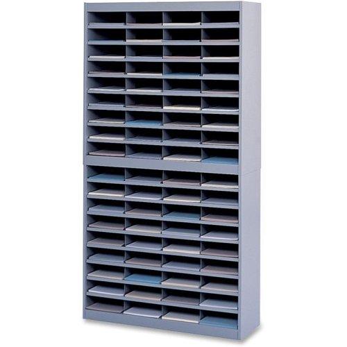 - Safco E-Z Stor Literature Organizer - 71quot; Height x 37.5quot; Width x 12.8quot; Depth - 72 Compartment(s) - Steel, Fiberboard - Gray