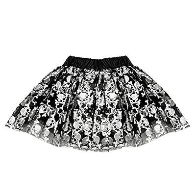 SeasonsTrading Skull Crossbones Tulle Tutu Lined Skirt Girls (2-7 Years) Costume Black, Silver: Clothing