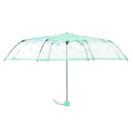 Paraguas plegable de Sukisuki con diseño transparente con flores de cerezo, Verde, talla única
