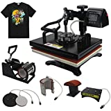 "RoyalPress Professional 12"" x 15"" Color LED 360-degree Rotation Sublimation Heat Transfer 5 in 1 Multifunction Combo Heat Press Machine Hat/Mug/Plate/Cap/T-Shirt Black (12""x15"" 5 in 1)"