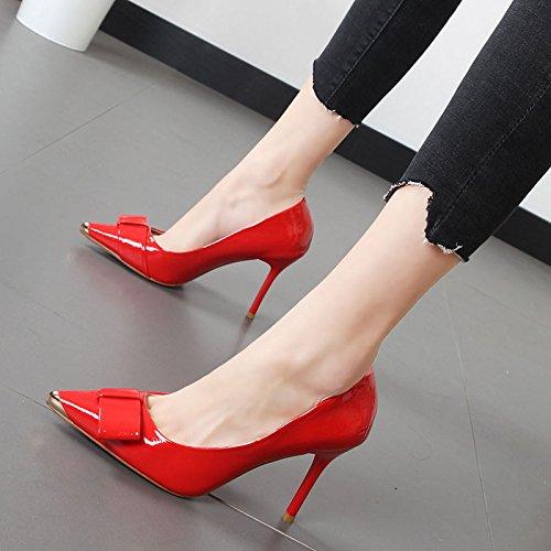 Xue Qiqi Simple zapatos bien con la luz de zapatos de mujer punta de metal decoración Pajarita alta Heel Shoes El rojo