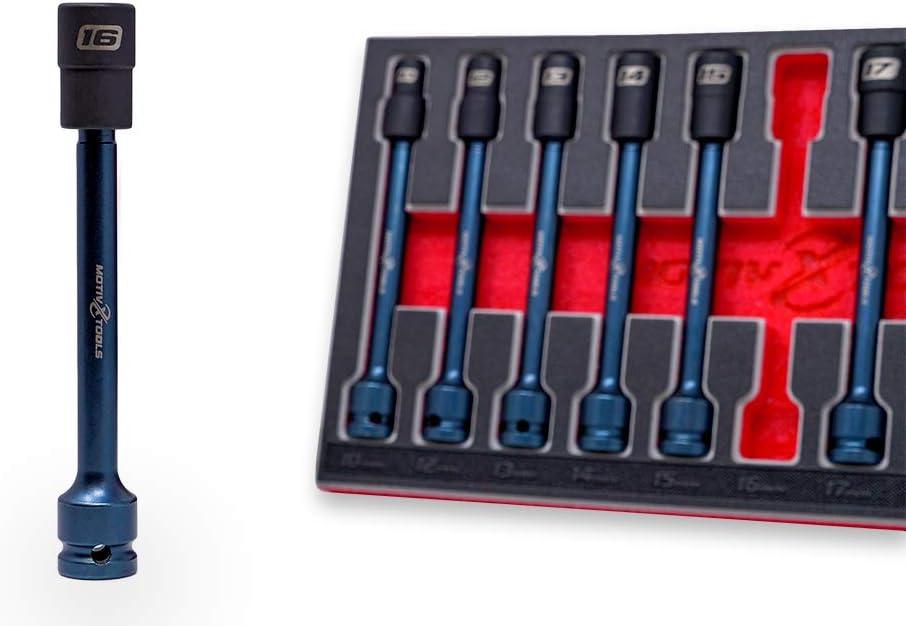 Motivx Tools 11 Piece 1//2 Drive 10mm to 24mm Extra Long Swivel Impact Socket Set