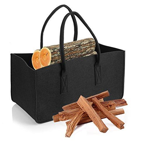 Delaman Felt Firewood Wood Bag Carrier Outdoor Camping Log Totes Holder Storage