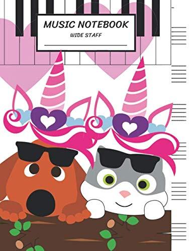 Music Notebook Wide Staff: Blank Music Sheet Notebook,Staff Paper,Music Manuscript Paper,6 Staves,Large Staff,8.5