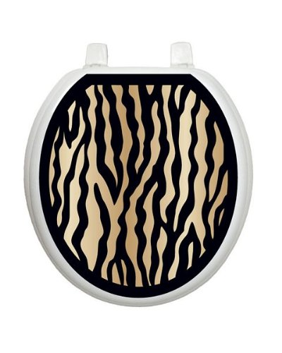 Black and Gold Zebra Toilet Tattoo TT-2000-R Round by Toilet Tattoo