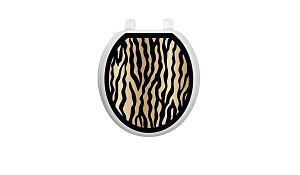 Black and Gold Zebra Toilet Tattoo TT-2000-R Round