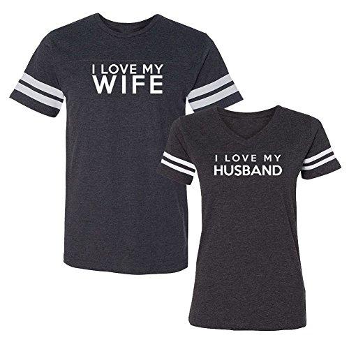 We Match! I Love My Wife I Love My Husband Matching Couples Football T-Shirt Set (Ladies Small, Mens 3XL, Smoke) (Hawaiian Football Shirt)