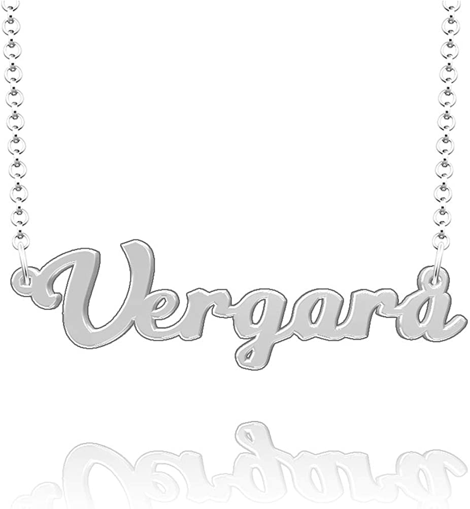 LoEnMe Jewelry Customized Vergara Name Necklace Stainless Steel Plated Custom Made of Last Name Gift for Family