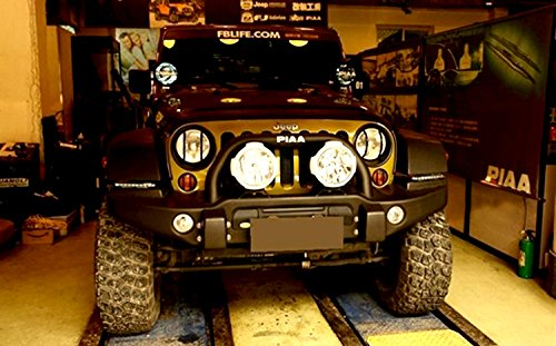 Hooke Road Black Front Headlight /& Turn Signal Cover Guard Kit for 2007-2018 Jeep Wrangler JK /& Wrangler Unlimited LED-44NW.PACK-M