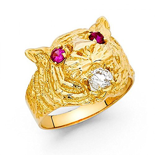 14k Yellow Gold Tiger Head CZ Men's Ring 14k Yellow Gold Tiger