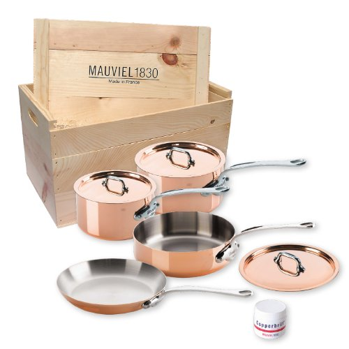 (Mauviel Made In France M'heritage 150s 6100.02wc Crated 7-Piece Set with Cast Stainless Steel Handle)