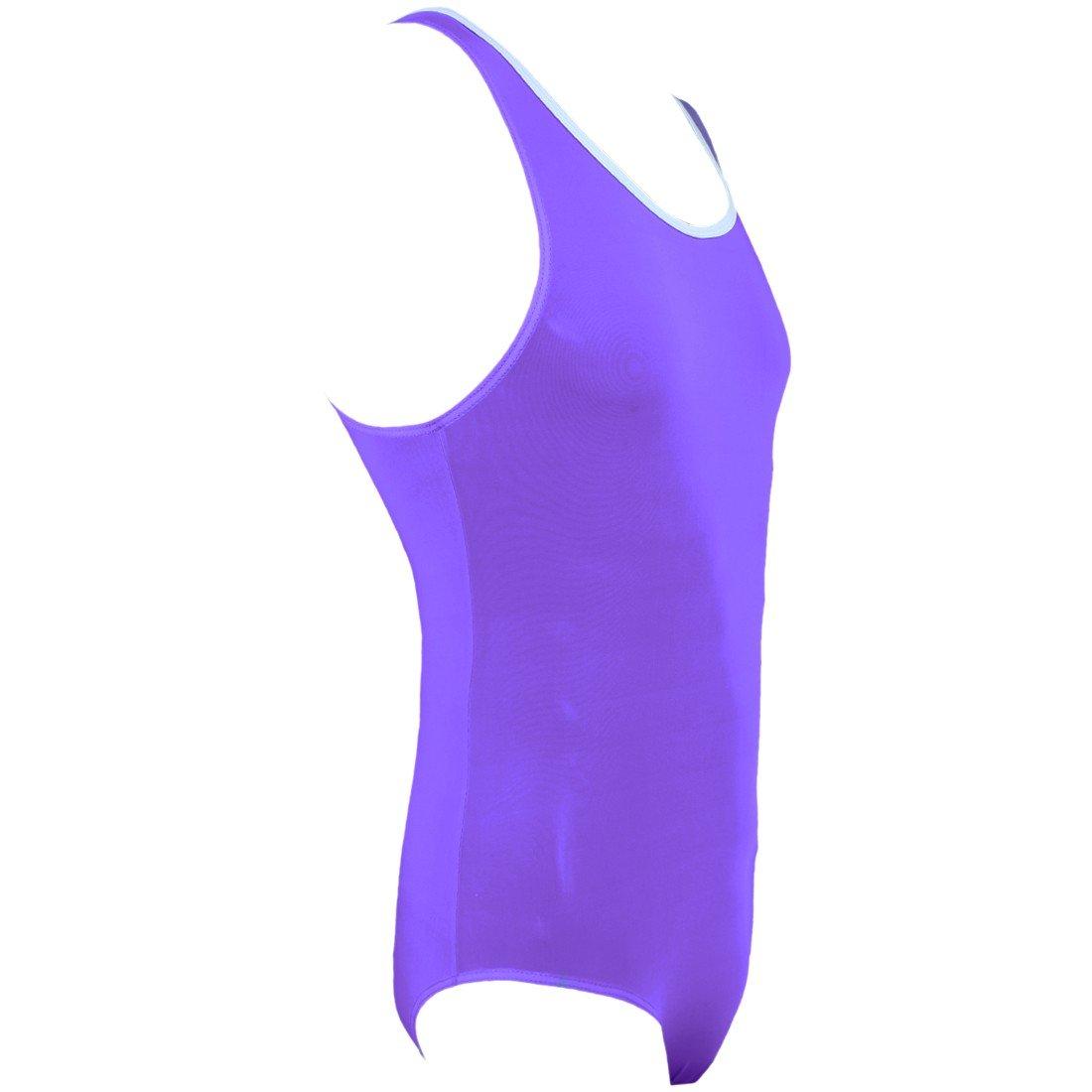 Yeahdor Mens Sleeveless Tank Leotard High Cut Thong Bodysuit Stretchy Wrestling Singlet Sportswear