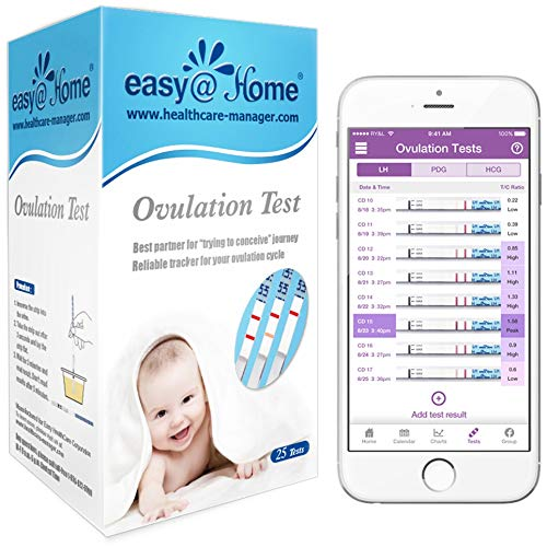 Easy@Home 25 Ovulation Test Kit Powered by Premom Ovulation Predictor App,Simplest Ovulation and Period Tracking, Accurate Ovulation Prediction with free iOS&Android APP, 25 LH Tests