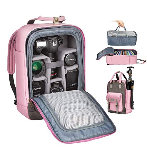 Camera Womens Bag - TARION Camera Bag Case Canvas DSLR Camera Backpack for Women Tripod Lens Mirrorless SLR Photography Accessories with Laptop Comaprtment + Waterproof Raincover Pink