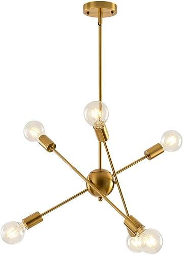 KIRIN Sputnik Chandelier 6 Lights Modern Brushed Brass Chandelier Mid Century Pendant Lighting Ceiling Light Fixture