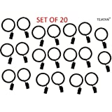 2 inch, set of 20 Metal Curtain Rings with Clips and Eyelets (Also known as Rings with Curtain Clips / Curtain clip rings / Drapery Rings / Curtain Rings with Clips)
